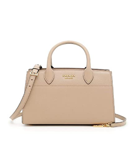 e32ee7ab1409 Prada Bibliothèque Tote Saffiano City Leather Beige and Maroon Handbag  1BA049: Handbags: Amazon.com