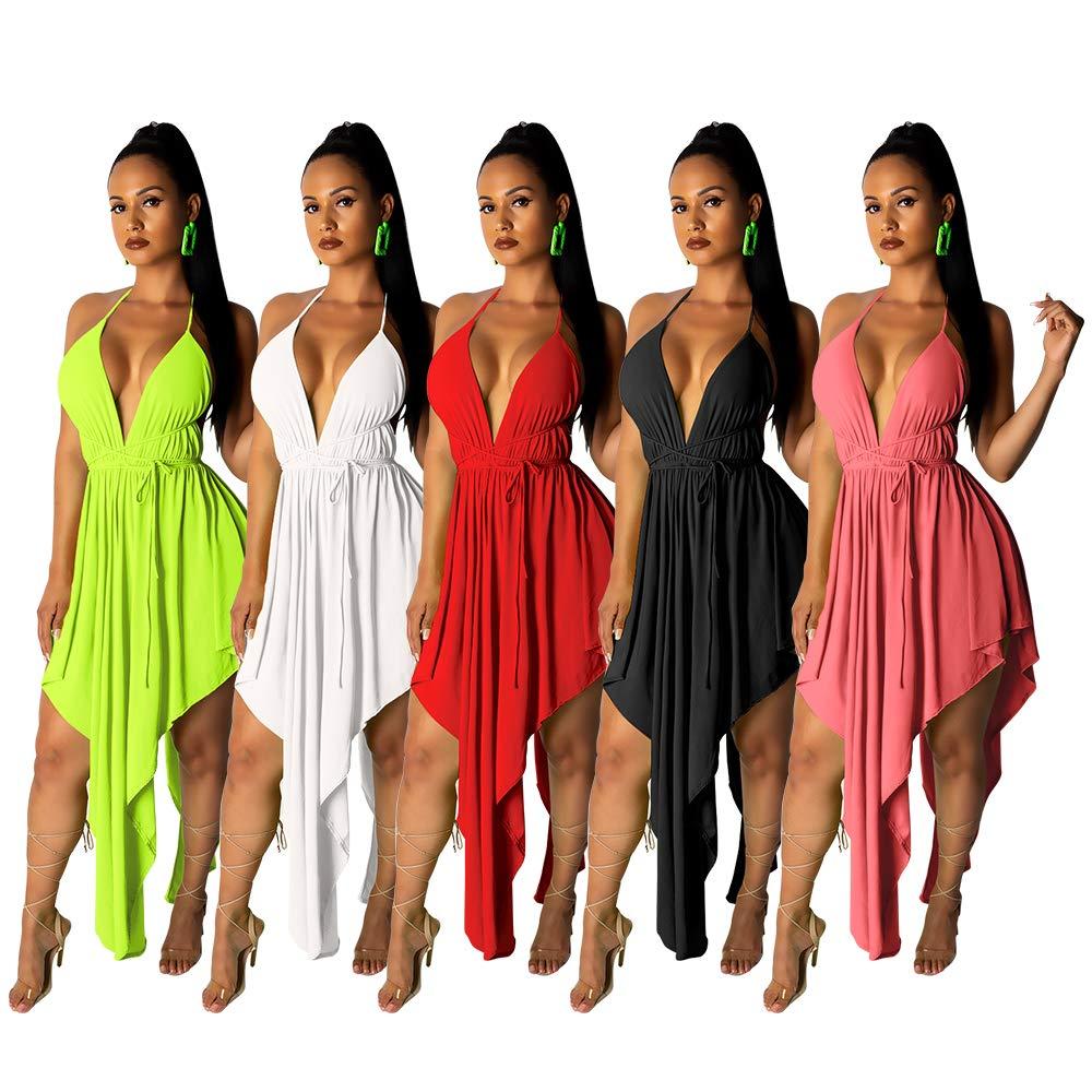 Uni Clau Women Asymmetrical Dress - Sexy V Neck Spaghetti Strap High Low Backless Cocktail Midi Dresses Red