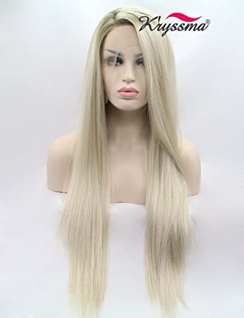K ryssma Blonde Ombre Lace Front Wigs for Women Long Straight Blonde  Synthetic Wigs Dark 00f2afa830