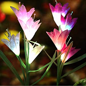 Set of 2 Solar Garden Stake Lights Color Changing Solar Powered Flower Lights Outdoor Solar Garden Decorations for Patio, Yard, Pathway, Backyard (Purple + White)