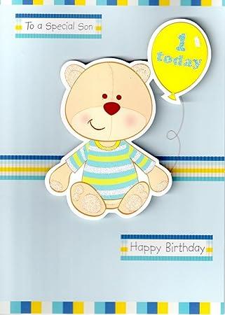 Amazon.com: Second Nature 1o Cumpleaños de hijo 3d Bear, hoy ...