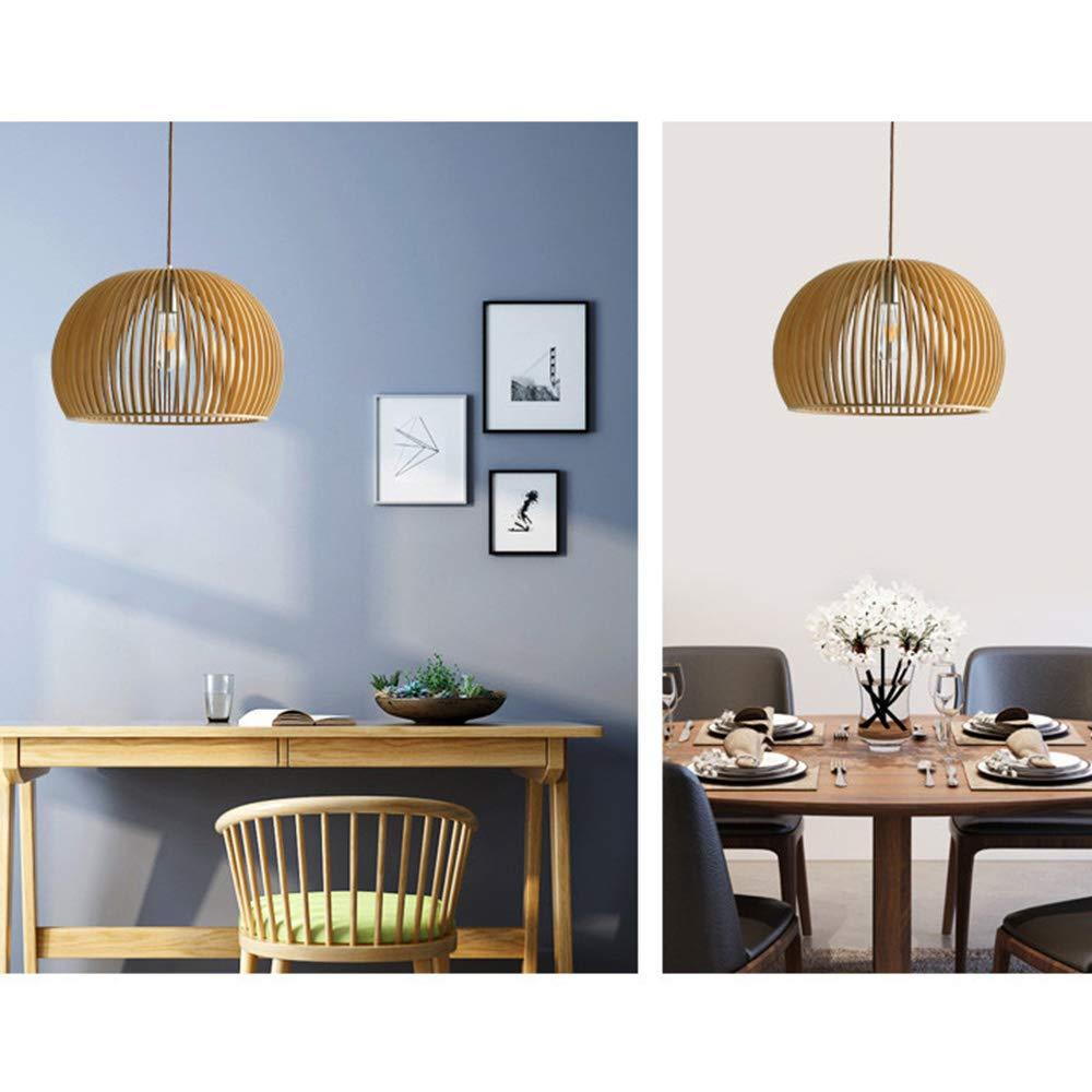 Moderne LED Pendelleuchte Kunst Holzkäfig Kronleuchter E27 Leuchtmittel Höhenverstellbarer Café Hängelampe Hochwertiger Hängeleuchte Restaurant Café Höhenverstellbarer Deckenleuchte Schlafzimmer Lampe Wohnzimmerlampe Esszimmerleuchte (Φ45cm) ef3d10