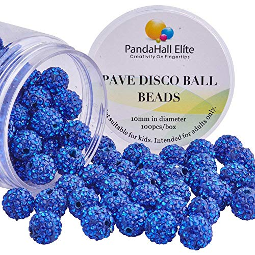 PandaHall Elite About 100 Pcs 10mm Clay Pave Disco Ball Czech Crystal Rhinestone Shamballa Beads Charm Round Spacer Bead for Jewelry Making Blue 10 Mm Pave Ball