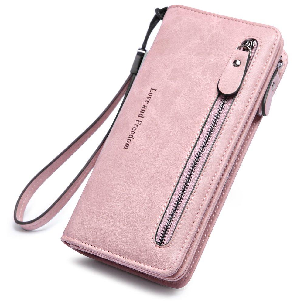 Women Wallets Wristlet Leather Fashion Ladies Long Bifold Clutch Checkbook Credit Card Holder Organizer Purse wine red