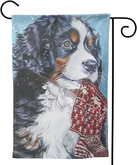 MINIOZE Bernese Mountain Dog Xmas Stocking Big Large Jumbo Party Themed Flag Welcome Outdoor Outside Decorations Ornament Picks Garden Yard Decor Double Sided 12.5X 18 Flag