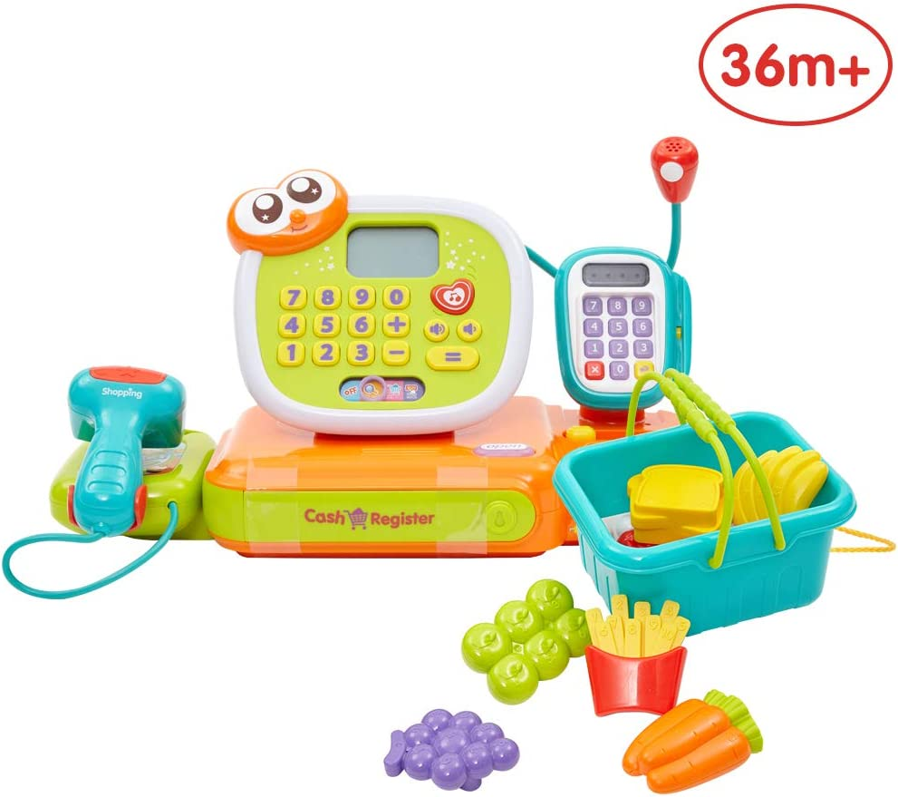 ANIKI TOYS Toddle Pretend Play Calculator Cash Register, Realistic Action & Sounds, Best Gift