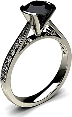 Jewelsforum 2 Carat Bezel Setting Side Stone Black Diamond Engagement Ring Amazon Com