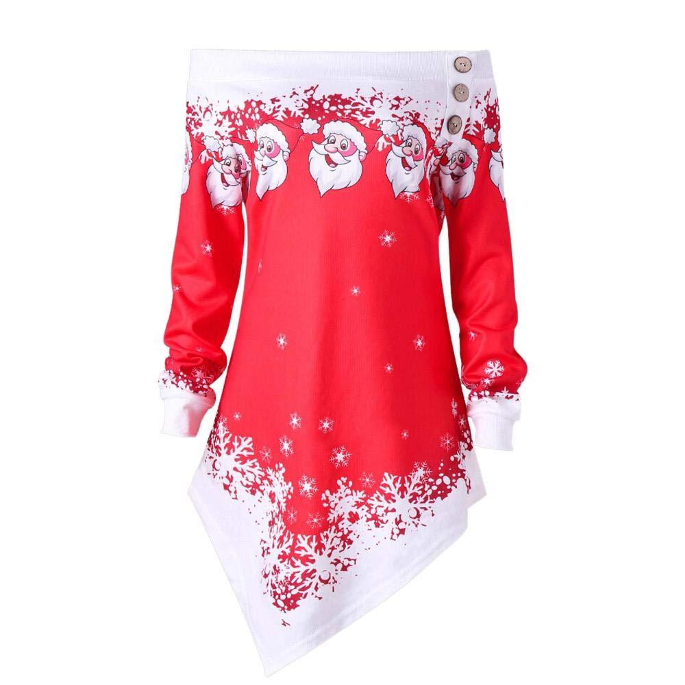 RD ZJSWCP Sweatshirt Women Casual Christmas Santa Claus Snowflake Printed Tops Off Shoulder Asymmetrical Sweatshirt chamarras de women Pastel Goth 20