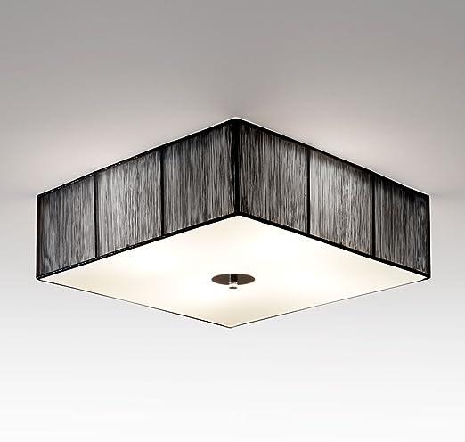 Design LED Lampe Deckenlampe Stoffschirm braun Abdeckglas Polycarbonat Leuchte