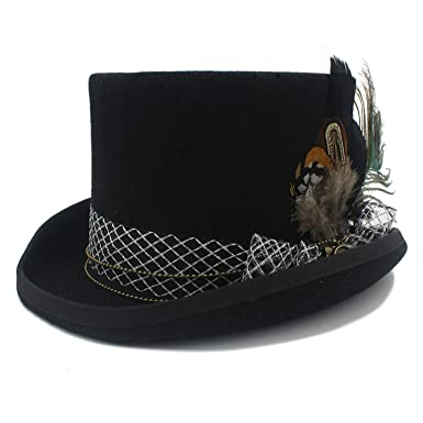 a0ff9b999c63c Amazon.com  Handwork Black Wool Fedora Top Hat for Magician Party Wedding  Hat Women Men  Clothing
