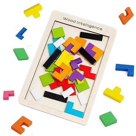 5b42974d17 SeeKool Tetris Giochi Legno Puzzle, 40 Pz Tangram Jigsaw Colorato Giocattoli  intelligenza Giocattolo in Legno