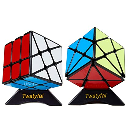 Speed Cube Set of 2 Bundle Pack Windmill Cube Magic Puzzle, YJ Axis V2 New  Version Fluctuation Angle Twisty Puzzle, Odd 3x3 Speedcubing with Bonus