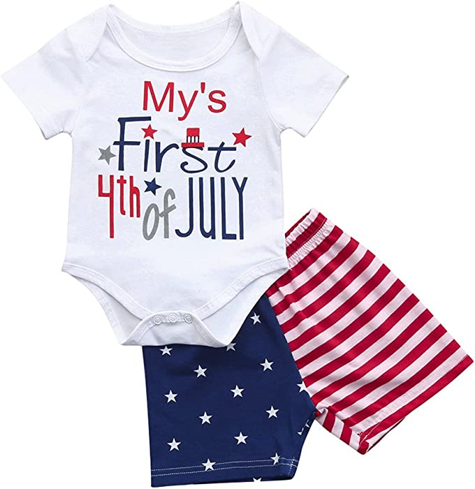 d72eebc668f Amazon.com  Miwear Newborn Baby Boys Girls 4th of July Romper Top + Star  Striped Shorts Summer Outfits Clothes Set (White