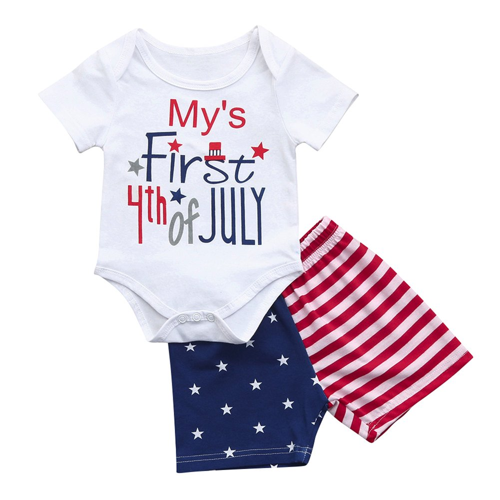 Star Striped Shorts Summer Outfits Clothes Set Miwear Newborn Baby Boys Girls 4th of July Romper Top White, 18-24 Months
