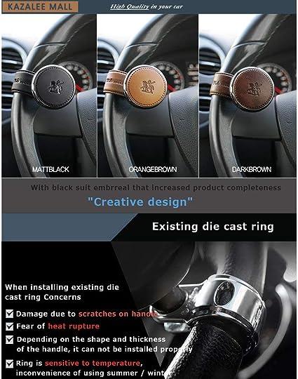 Leather Power Handle Knob Handle Steering Wheel Car Accessories BLACKSUIT Orange Brown