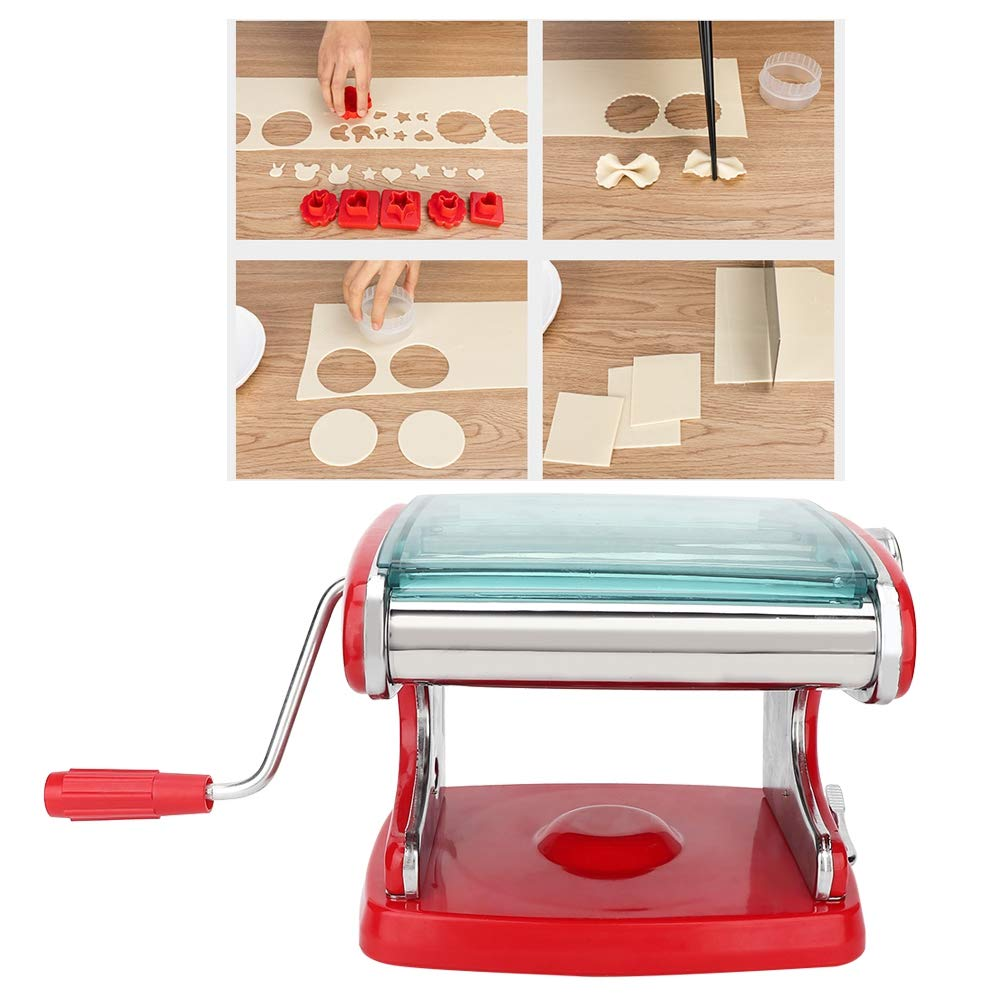 Pasta Maker, Stainless Steel Household Multifunction Pasta Making Machine Pasta Cutter Manual Noodle Maker Spaghetti Hand Roller Cutter Fresh Dough Making Tool(Red) by Jacksking