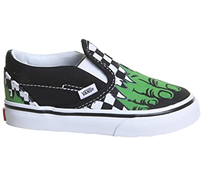 9064579cae9b47 Vans Classic Slip-On (Marvel) Hulk Checkerboard VN000EX8U44 Toddler Size 2