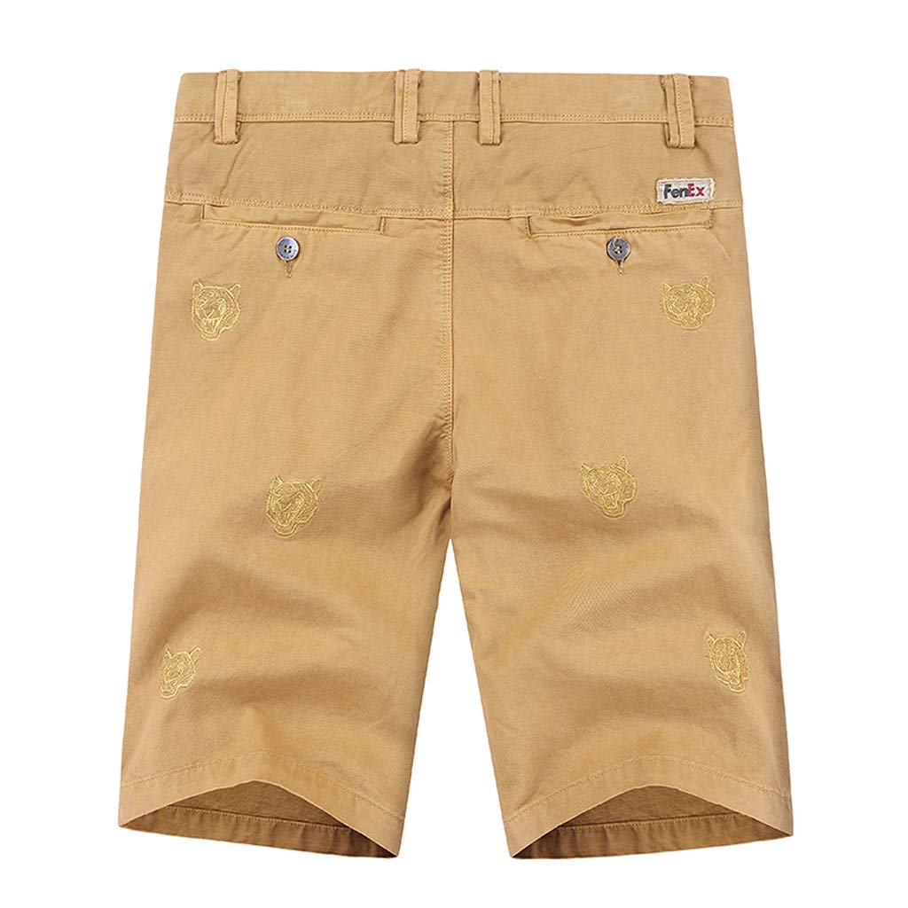 TANLANG Men Outdoor Loose Cotton Print Five-Point Sports Tooling Shorts Standard Straight Corduroy Pants