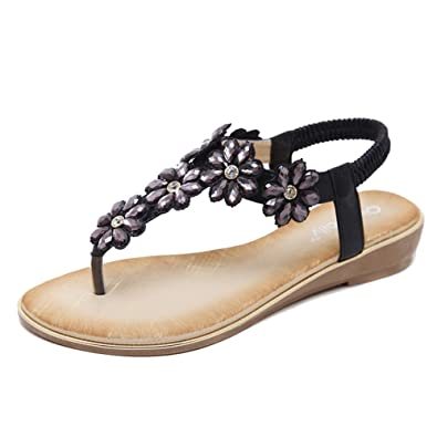 ShiFan Damen Casual Flach Sommerschuhe Bohemia Flach Sandalen Zehentrenner Strand Schuhe