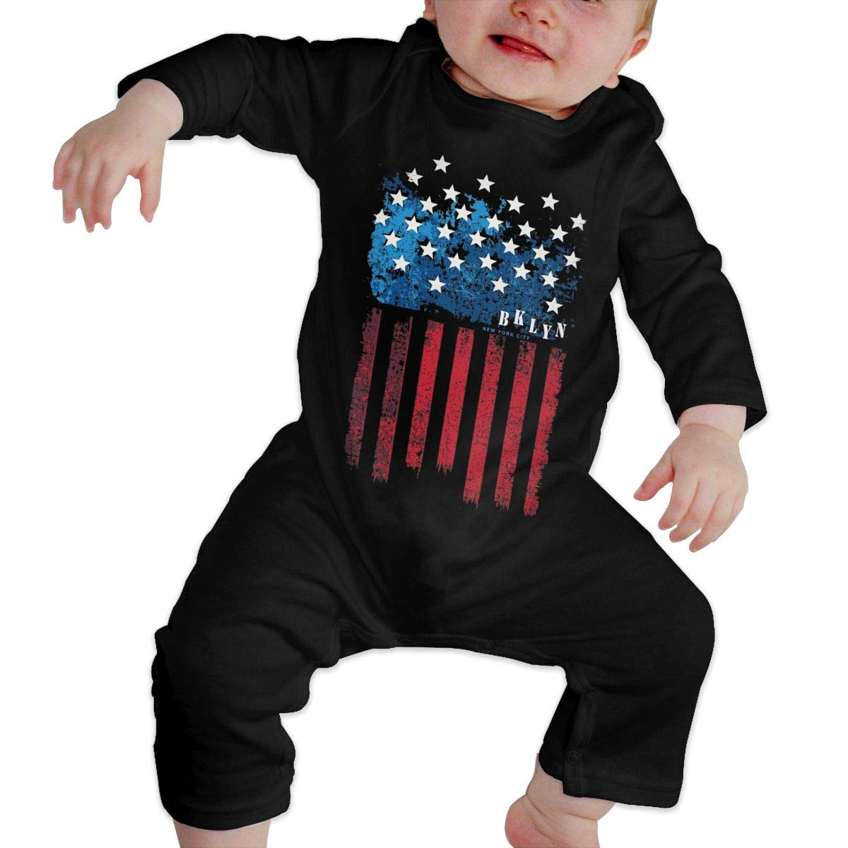 Unisex Baby Round Neck Long-Sleeve Pure Color Climbing Clothes New York Flag Jumpsuit
