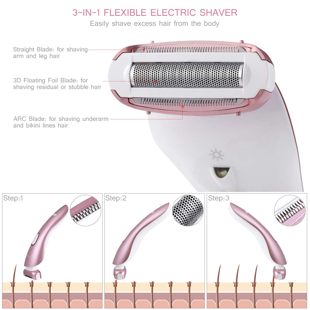 3 In 1 Ladies Electric Razors, Women's Electric Shaver Body Hair Removal Epilator