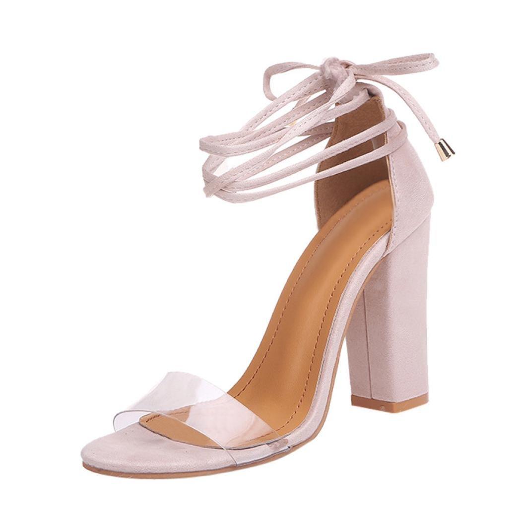 Sunbona Women Sexy Dress Sandals,Ladies Summer Ankle Strap Block High Chunky Heel Pumps Sandals Wedding Party Shoes (US:5.5(RU/EU/CN35), Beige)