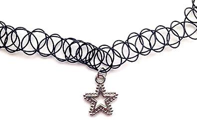 bf27076f7895 Estrella de Gargantilla collar del encanto del tatuaje elástico negro  Vintage Retro 80s 90s elástico de diseño de Henna  Amazon.es  Joyería