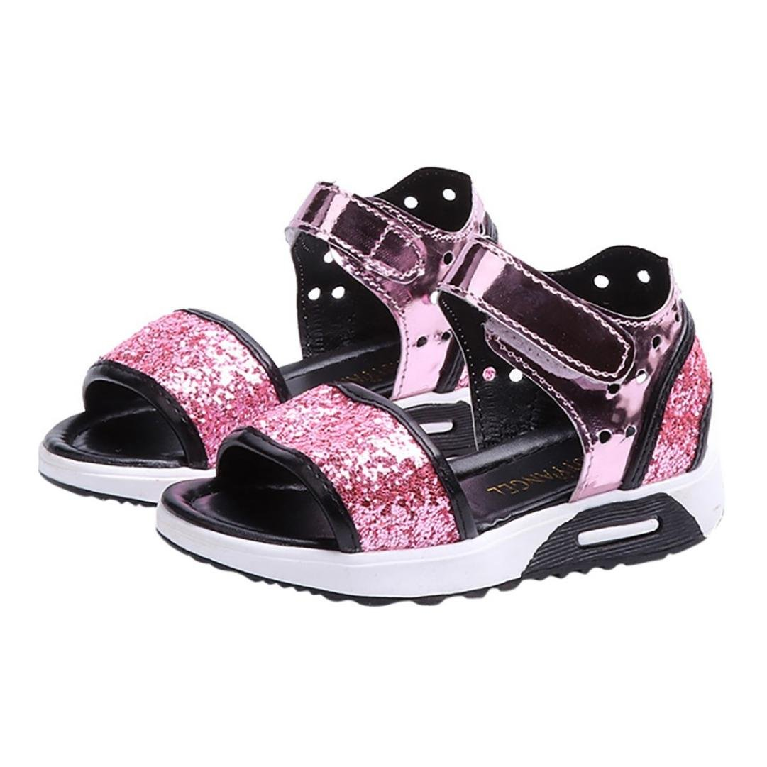 Voberry@ Kids Toddler Girls Bling Bowknot Open Toe Sandals Rubber Sole Princess Summer Shoes