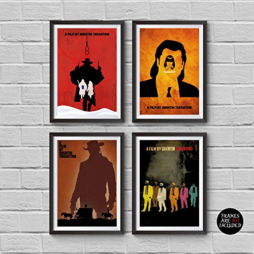Quentin Tarantino Movies Minimalist Poster Set 4 The Hateful Eight Django Unchained Pulp Fiction Reservoir Dogs Collection Prints Illustration Wall Artwork Home Decor Hanging Cool Gift