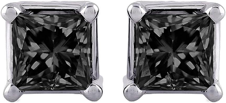 1.00 Ct Princess Cut Black Diamond Solitaire Stud Earring 14K white Gold Finish