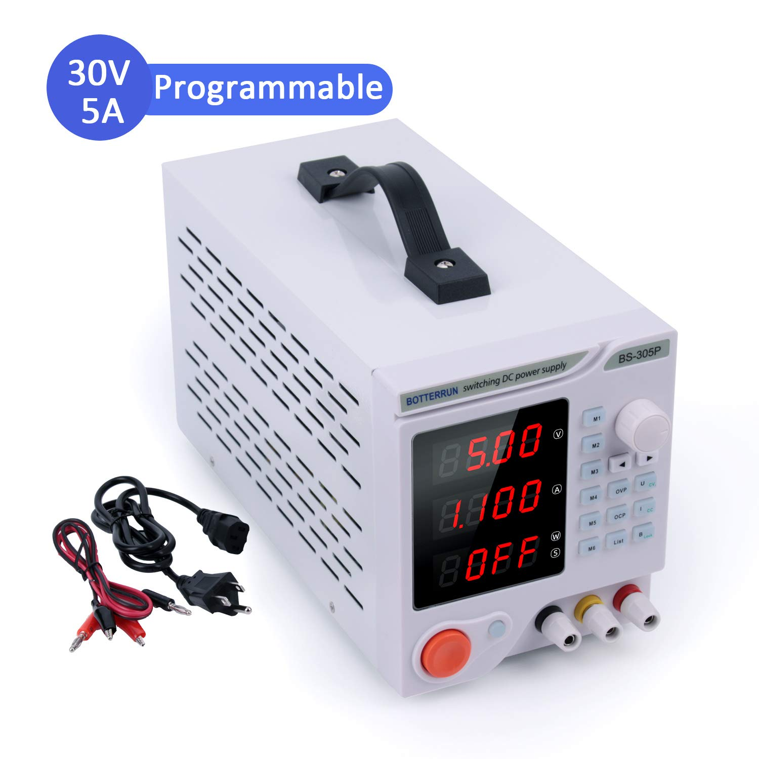 Programmable DC Power Supply (0-30 V 0-5 A), BOTTERRUN BS-305P 4-Digital Variable Switching Regulated High Precision Power Supply Portable with Alligator Test Leads