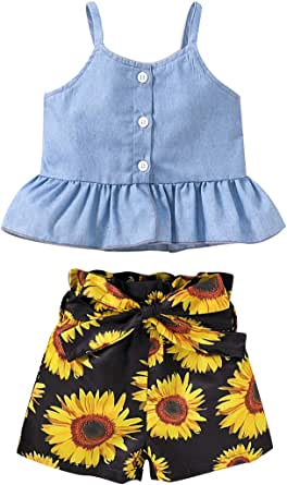 Toddler Baby Girls 2Pcs Clothes Ruffle Strap Top Floral Shorts Pants Set Summer Outfit