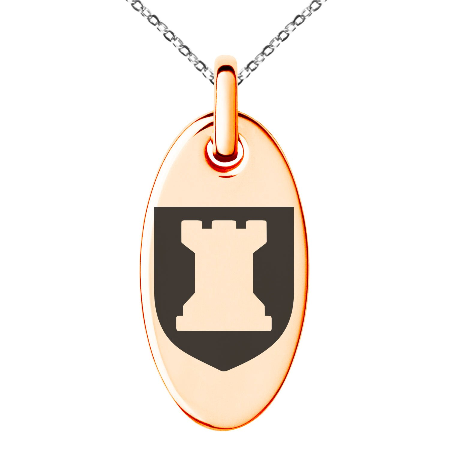 Tioneer Rose Gold Plated Stainless Steel Rook Strategy Coat of Arms Shield Symbol Engraved Small Oval Charm Pendant Necklace