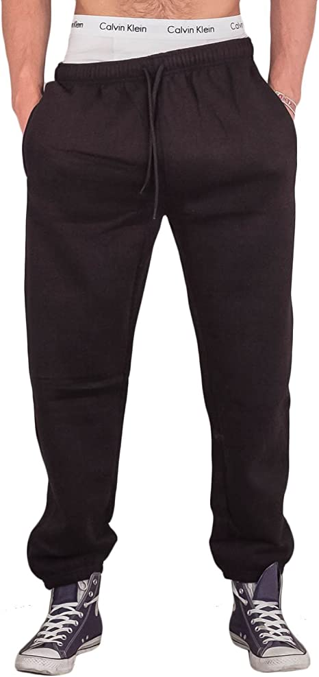 MENS FLEECE  ELASTICATED JOGGING JOGGERS TRACKSUIT BOTTOMS CUFFED TROUSERS M-5XL