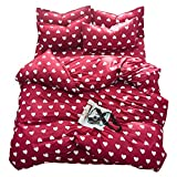 TTMALL Bedding sets 3-pieces Microfiber Duvet Cover Set Full Queen Size, White Love Hearts Red Patterns Design Prints,Without Comforter (Full/Queen, (1Duvet Cover+2Pillowcases)#04)