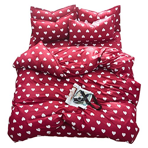 Hearts Quilt Set - TTMALL Bedding sets 3-pieces Microfiber Duvet Cover Set Full Queen Size, White Love Hearts Red Patterns Design Prints,Without Comforter (Full/Queen, (1Duvet Cover+2Pillowcases)#04)