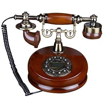 Navigatee Teléfono de Dial Rotatorio, Teléfono de Escritorio de Madera Clásico con Cable, Teléfonos fijos Antiguos con Función de Rellamada Manual de ...