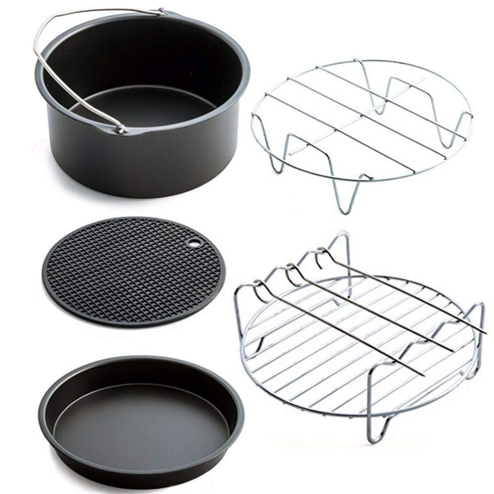 1 piece Home Air Frying Pan Accessories Five Piece Fryer Baking Basket Pizza Plate Grill Pot Mat Multi-functional Kitchen Accessory