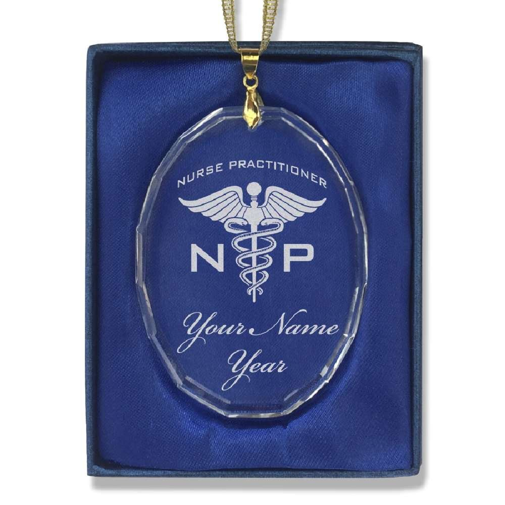 Oval Crystal Christmas Ornament - NP Nurse Practitioner - Personalized Engraving Included