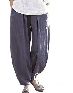 35593d8710 Happy Cherry Femme Pantalon Lin Coton Large Pants Yoga Sport Danse Pantalon  de Loisirs Taille Unique
