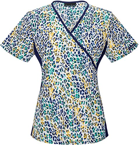 Cherokee Women's Plus-Size Mock Wrap Top with Panels, You Are So Wild, 4X-Large