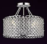 Modern Contemporary Chrome/Crystal 4-light Round Ceiling Chandelier Chandeliers Lighting Review