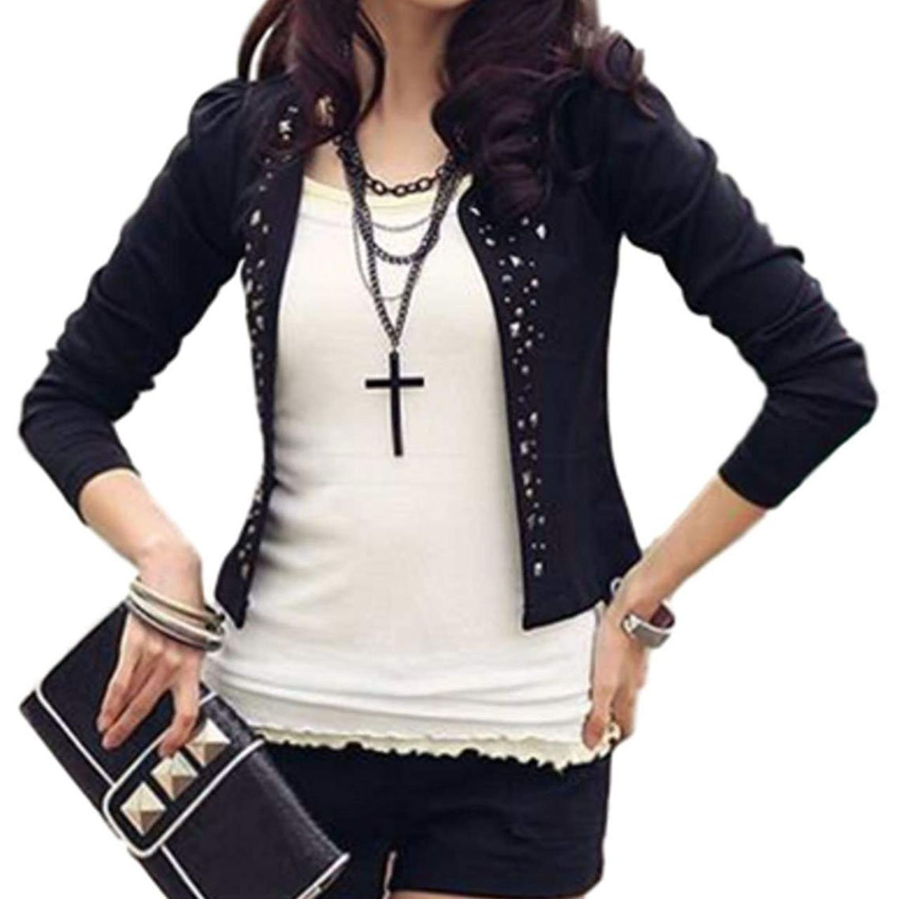 PT&Key Women's Cardigans Casual Outer Studs Deco Slim Fitted Office Casual (US10(tag XXL), Black)