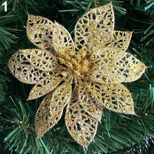 6'' Hollow Wedding Party Decor Christmas Flowers Xmas Tree Decorations Poinsettia - Golden liyhh