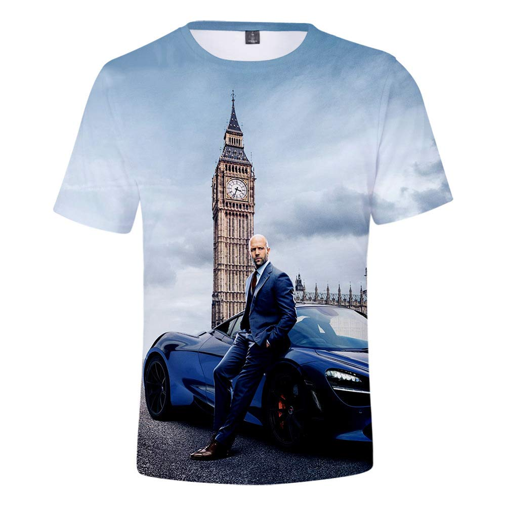 YanmmYan Hobbs and Shaw The Fast N Furious Girls 3D Printing Grid Breathable Tees T-Shirt