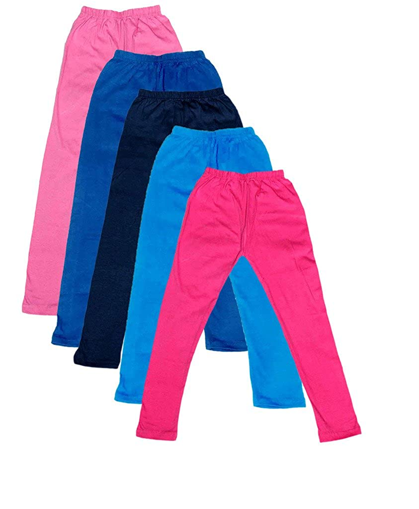 Indistar Little Girls Cotton Full Ankle Length Solid Leggings Pack of 5 -Multiple Colors-4-5 Years