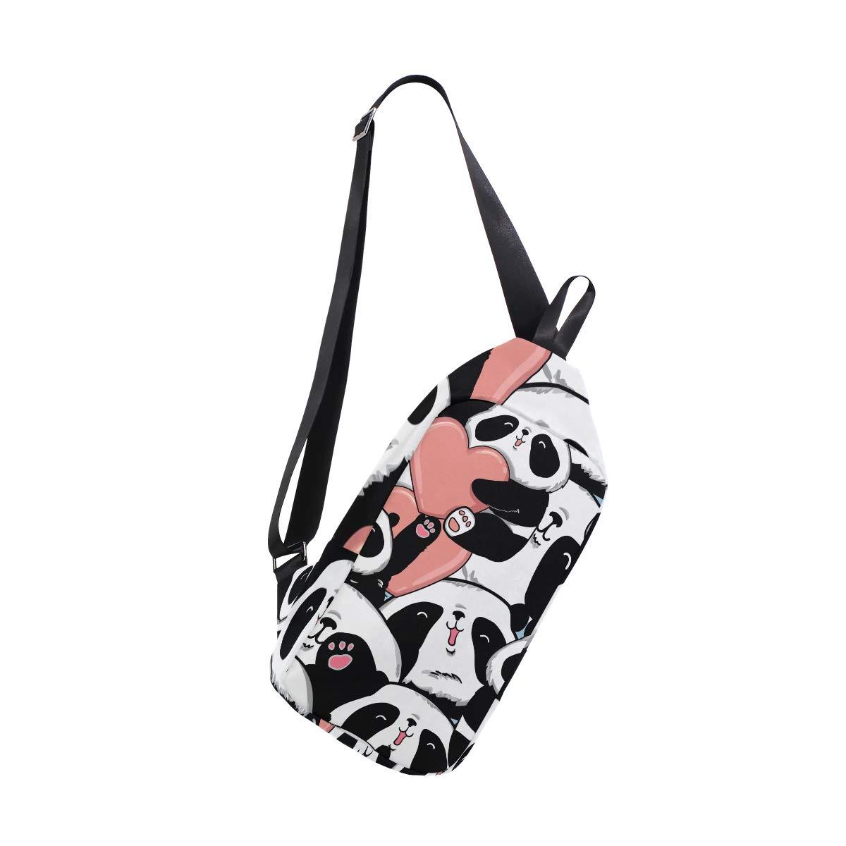 TFONE Cute Panda Heart Pattern Crossbody Bag Lightweight Chest Shoulder Messenger Pack Backpack Sling Bag