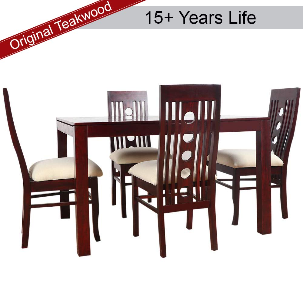 Furny Franco Solid Wood Dining Table Set 4 Seater (Teak Wood)