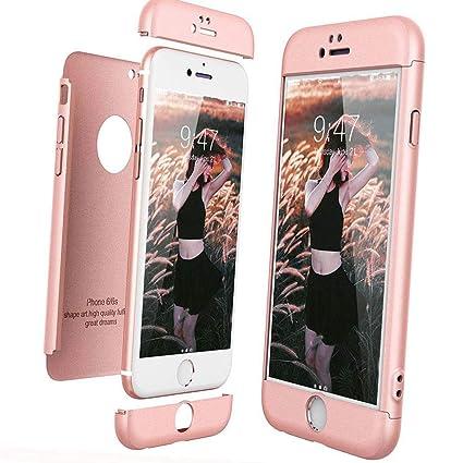 XCYYOO Funda para iPhone 6/6S Custodia de 360°Caja Protectora PC Shell,Carcasa iPhone 6/6S Silicona Snap On Diseño Antigolpes Choque Absorción Bumper ...