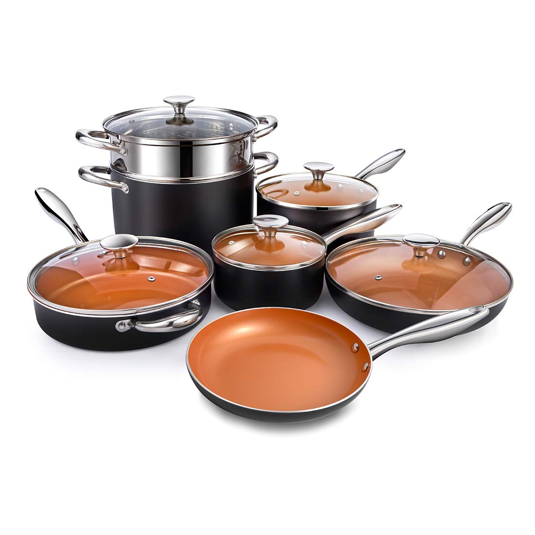 MICHELANGELO Copper Cookware Set 12 Piece with Nonstick Ceramic Coating, Copper Pots and Pans Sets Induction, Ceramic Cookware Set Nonstick - Include Skillet, Saute Pans, Stock Pot and Steamer Insert